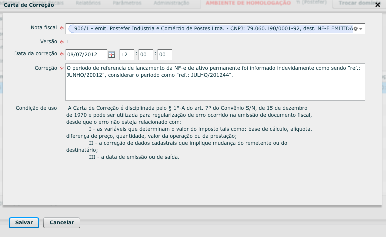 Passo 2 - Como emitir uma Carta de Correção Eletrônica (CCe)